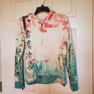 Lucky Brand Asian Floral Zip Up Hoodie Sweater
